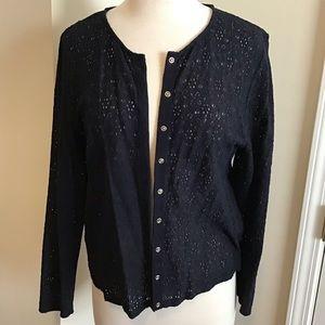 Kasper black lace cardigan XL